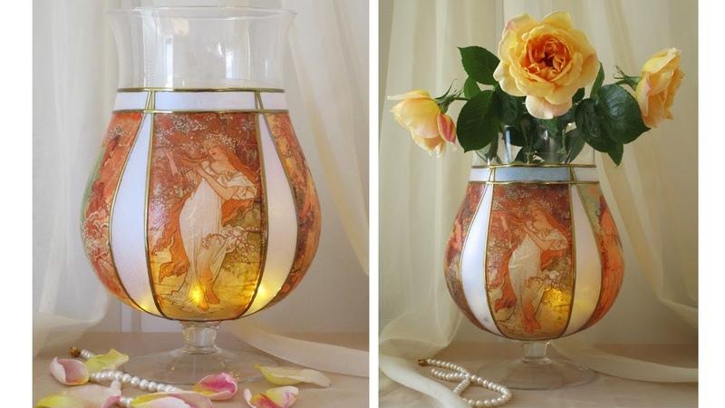 DIY Flower Glass Vase Decoupage On glass Tutorial