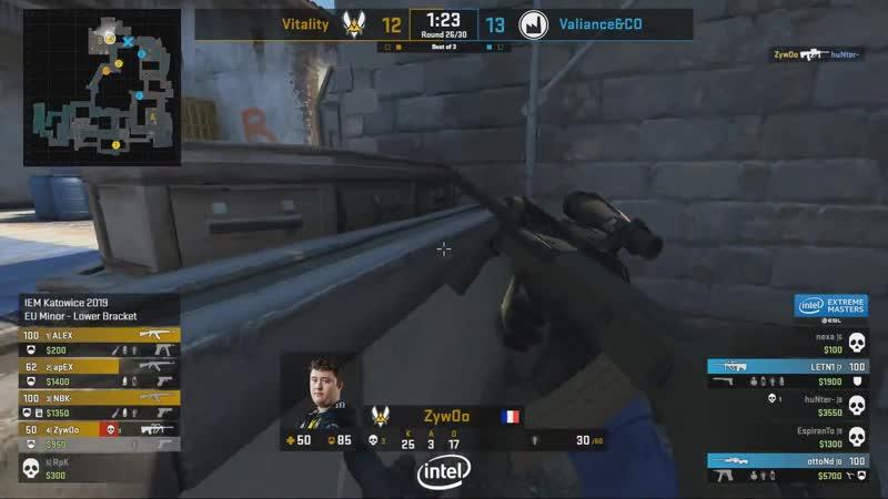 ZyWoo делает эйс против Valiance в самом важном раунде игры @ EU Minor IEM Katowice 2019