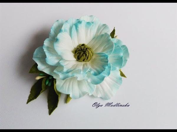 Весенний цветок с фоамирана на заколке МК