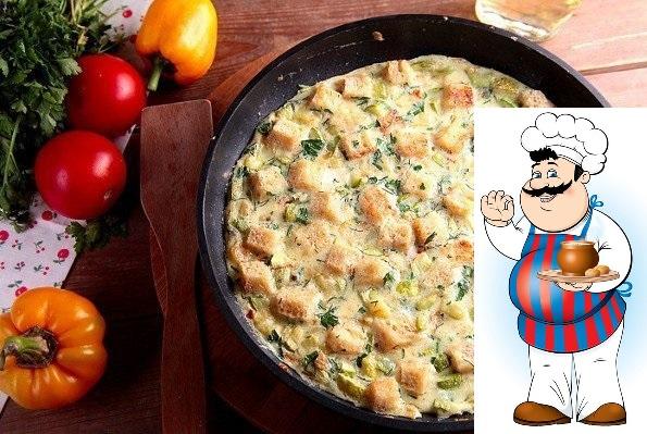 Яичница с кабачками и хлебом Ингредиенты: Кусочки черствого хлеба 2-3 шт. Лук репчатый среднего размера 1 шт. Кабачок среднего размера 1 шт. Яйца куриные 5-6 шт. Абхазская соль 1 ч. л. Зелень 1
