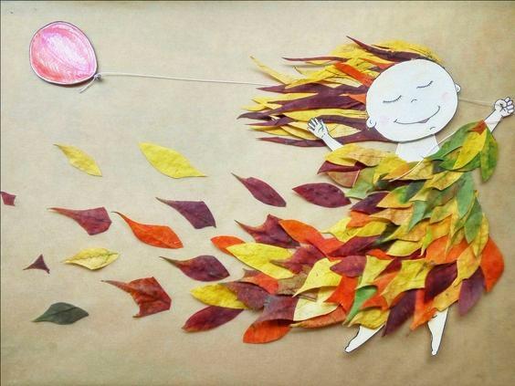 Аппликация: Осенняя фея Для феи нам понадобится: картонная основа, бумага для лица, ниточка, листья и клей. Листья должны быть подсушены, но не полностью. Очень сухие листья будут крошиться и не
