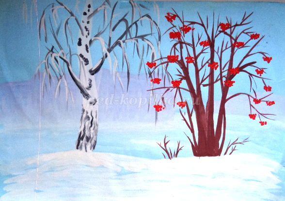 Урок рисования на тему: Зима Необходимые инструменты и материалы: - гуашь; - альбомный лист; - кисть 3 или 2. Репродукции картин: Куинджи «Берёзовая роща», Грабарь «Февральская лазурь»,