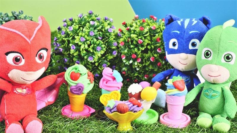 Pijamaskeliler çizgi film kahramanları videoları. Baykuş kız, Romeo ve play-doh dondurma
