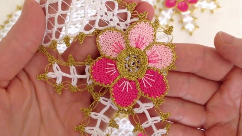 Sık İğneli Çiçekli Havlu Kenarı Modeli Göbek Kısmının Yapılışı