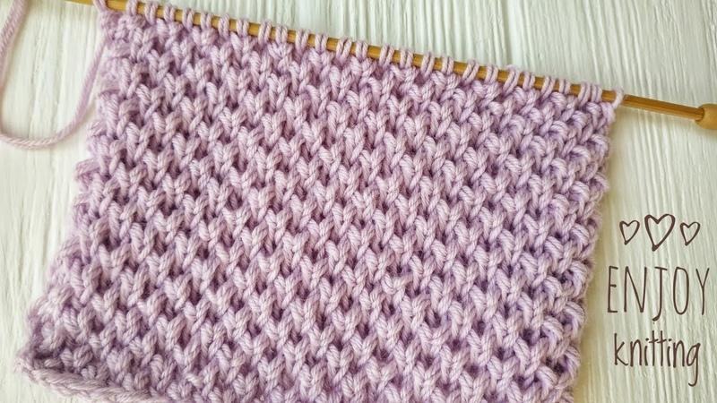 ПРОСТОЙ Узор Мелкие соты Жемчужный бриошь Pearl Brioche knit stitch 59