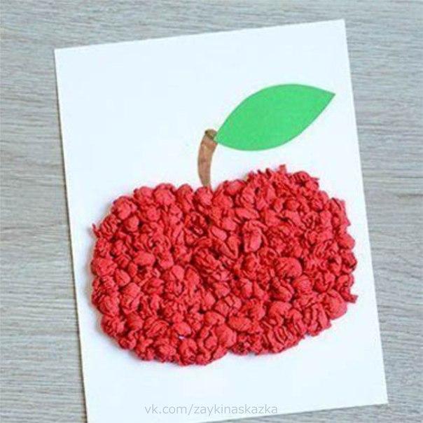 ЯБЛОЧКО Аппликация из салфетокВ саду на дереве растётКрасивый, вкусный, сочный плод.Я подскажу: на букву «Я»Он начинается,