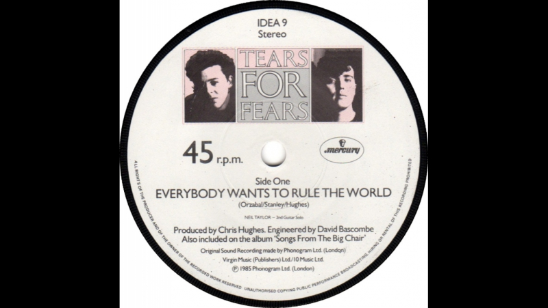Tears For Fears - Everybody Wants To Rule The World 1985 levtianer
