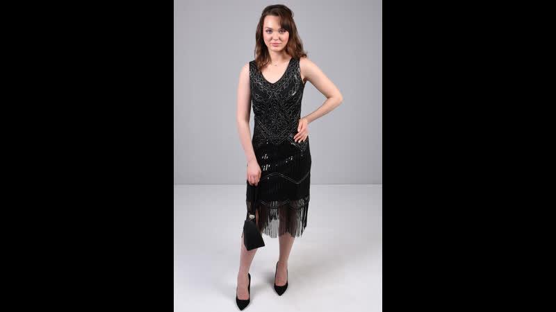 Коктейльное платье миди расшитое бахромой 101121 304115