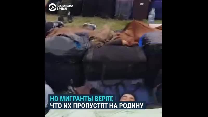Мигранты ожидают зеленого коридора и спят в поле на российско казахстанской границе