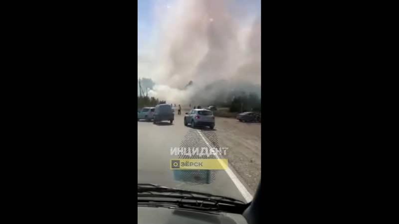 Пожар на трассе в районе г Касли