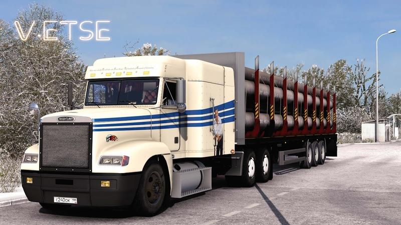 Euro Truck Simulator 2 Пересел на Freightliner FLD в сцепке с лесовозом СПБ Невел