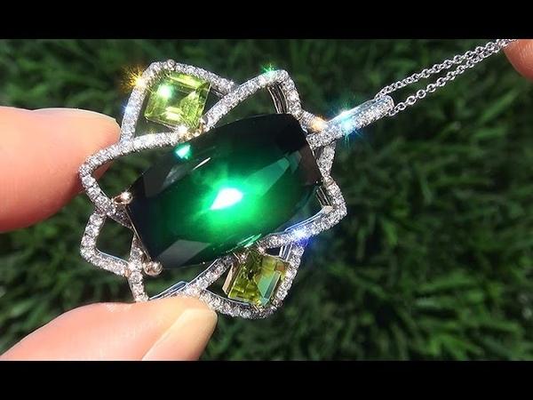GIA Certified FLAWLESS Natural Green Tourmaline Peridot Diamond 14k Gold Pendant Necklace - C621