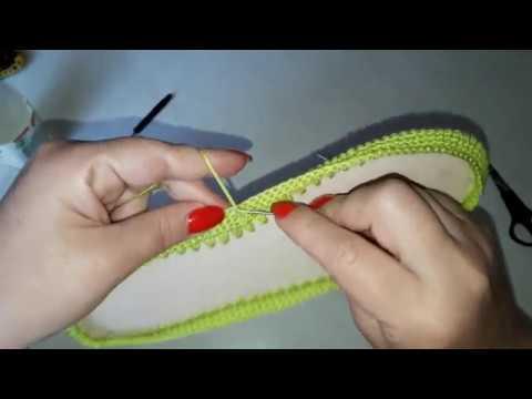 Вязаная обувь крючком Как я начинаю работать с подошвой Мокасины САЛАТОВОЕ ЧУДО Часть 1